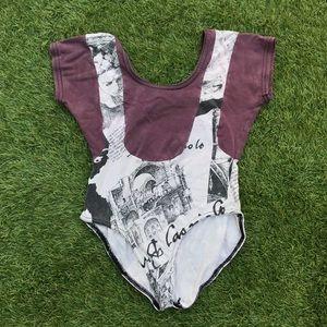 vintage purple + newsprint panel bodysuit